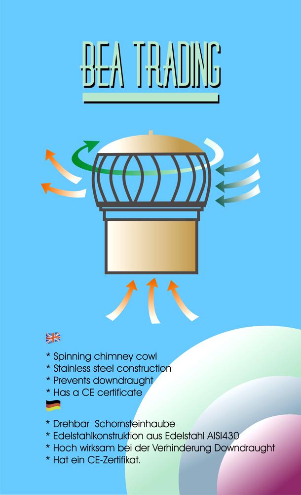 Anti Downdraft Chimney Spinner Cap Spinning Rotating